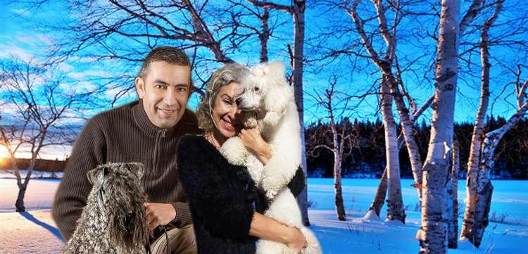 Kerry Blue Terrier. Miguel con Vin y Maribel con Vera.